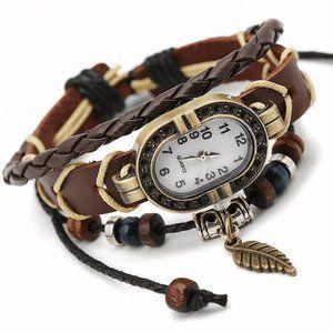 Preppy Leather Watch Women's Fashion Accessory